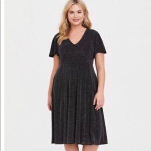 Black shimmer midi skater dress